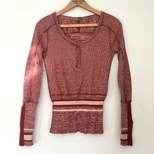 Free people thermal knit Henley sock monkey red